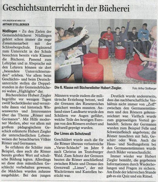 Presse Rom 6.Klasse Saale Zeitung 23.02.2016