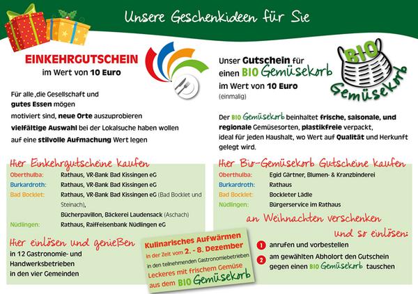 Unsere Geschenkideen für Sie - Einkehrgutschein und BIO Gemüsekorb